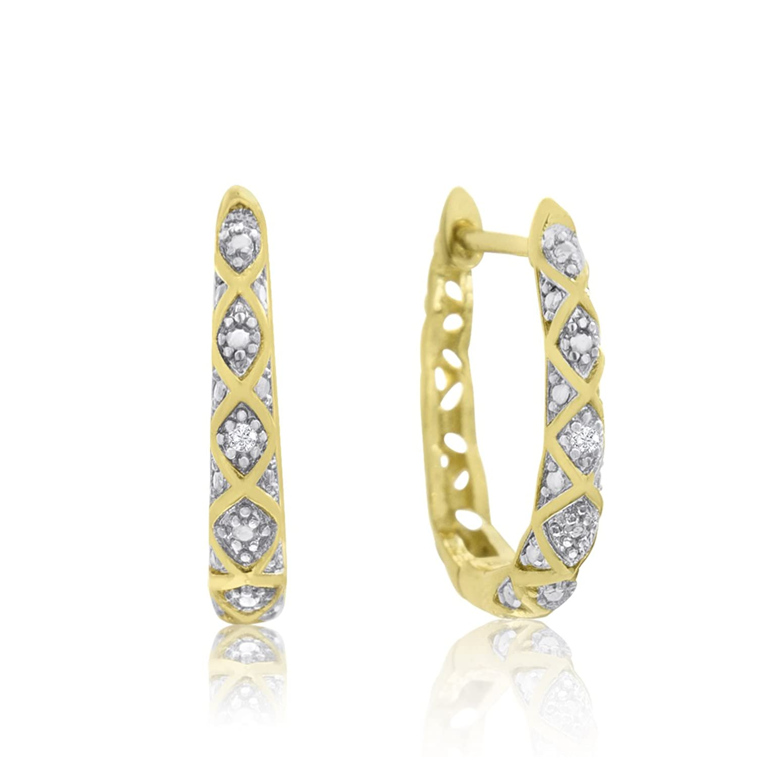 Amazon Delicately Embellished Diamond Hoop Earrings Yellow