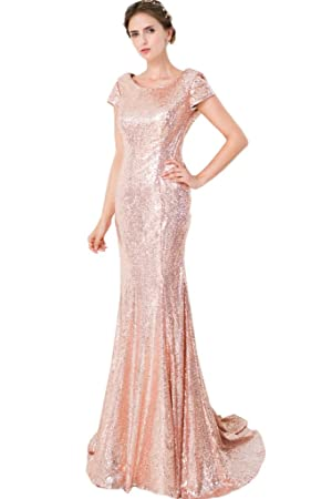 Avril Dress Gorgeous Short Sleeves Evening Mermaid Sequins Backless Party Dress-14-Champagne