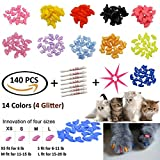 JOYJULY 140pcs Pet Cat Kitty Soft Claws Caps Control Soft Paws of 4 Glitter Colors - 10 Colorful Cat Nails Caps Covers + 7 Adhesive Glue+7 Applicator with Instruction - Medium M
