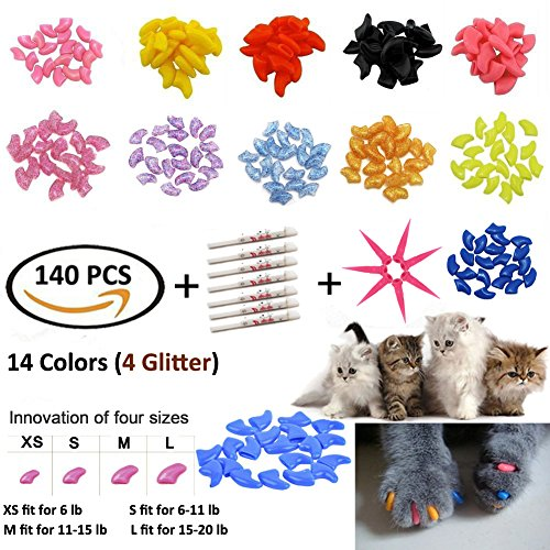 JOYJULY 140pcs Pet Cat Kitty Soft Claws Caps Control Soft Paws of 4 Glitter Colors, 10 Colorful Cat Nails Caps Covers + 7 Adhesive Glue+7 Applicator with Instruction, Extra Small XS - Soft Claws Kittens