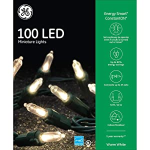 GE Energy Smart Colorite Miniature LED 100-Light Set Holiday, Party, Christmas - White