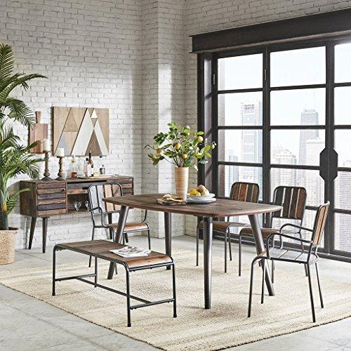 Ink+Ivy IIF20-0126 Renu Set of 2 Dining Chairs, Metal Frames, Wood Seat Modern Rustic Industrial Style Sturdy Side Stool Family Room Furniture, Light Brown