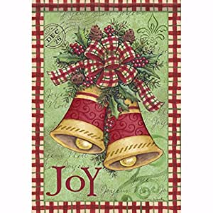 Carson Christmas Plaid Bells Garden Flag 46026