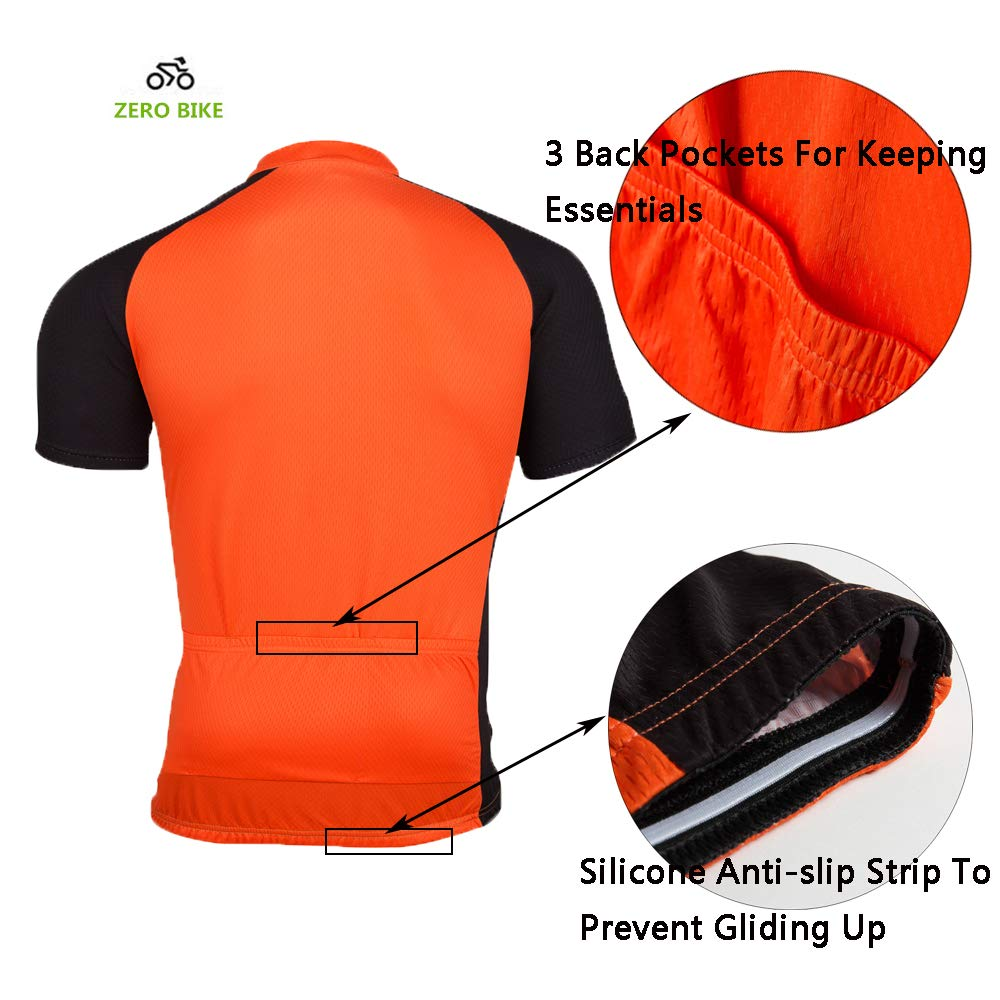 ZEROBIKE Mens Short Sleeve Cycling Jersey Jacket Cycling Shirt Quick Dry Breathable Mountain Clothing Bike Top