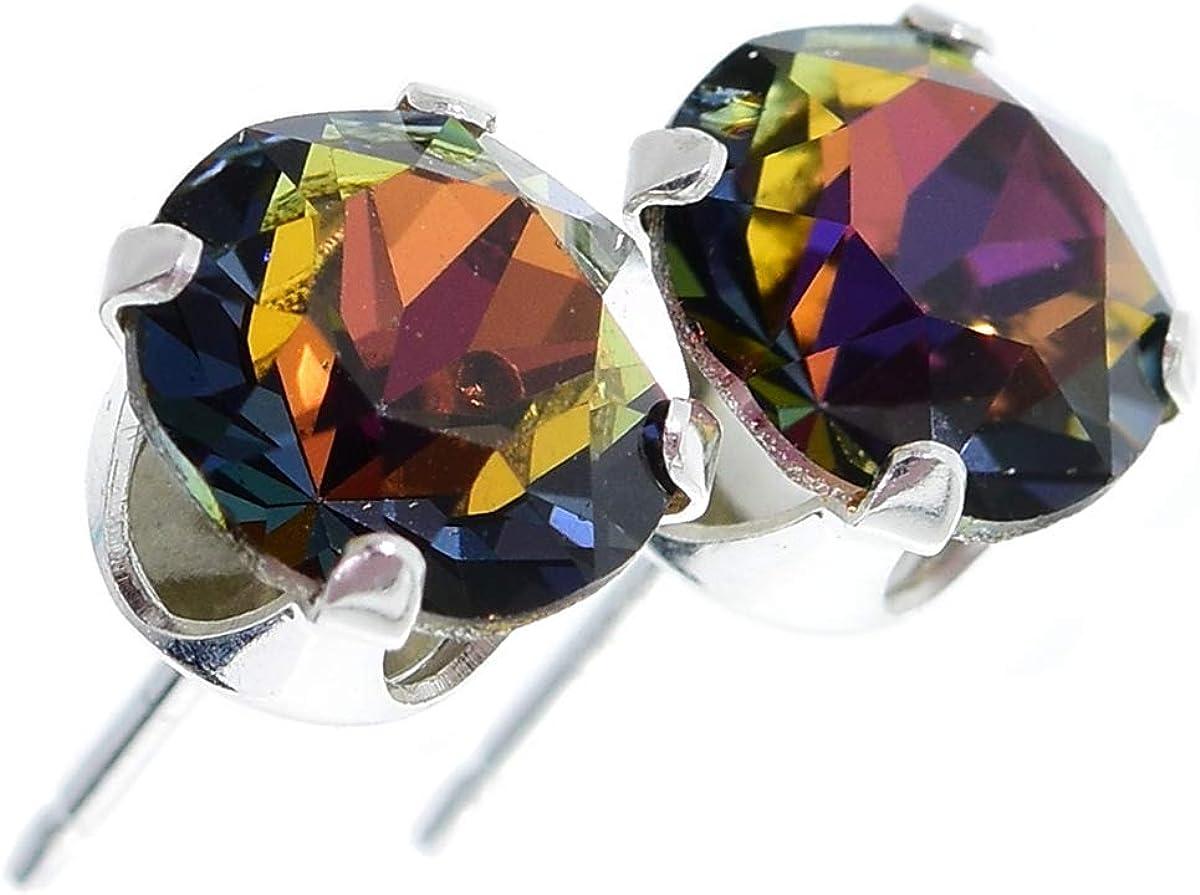 pewterhooter. Pendientes de plata de ley 925 hechos con cristal Volcano brillante de SWAROVSKI® para Mujer.