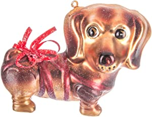 Robert Stanley Dachshund Dog with Red Ribbon Glass Christmas Ornament, Pet Lovers Holiday Collection