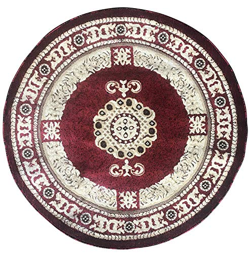 Americana Traditional Round Persian Area Rug Red Design 121 (7 feet 3 inches X 7 feet 3 inches - Area Red Rug Royalty