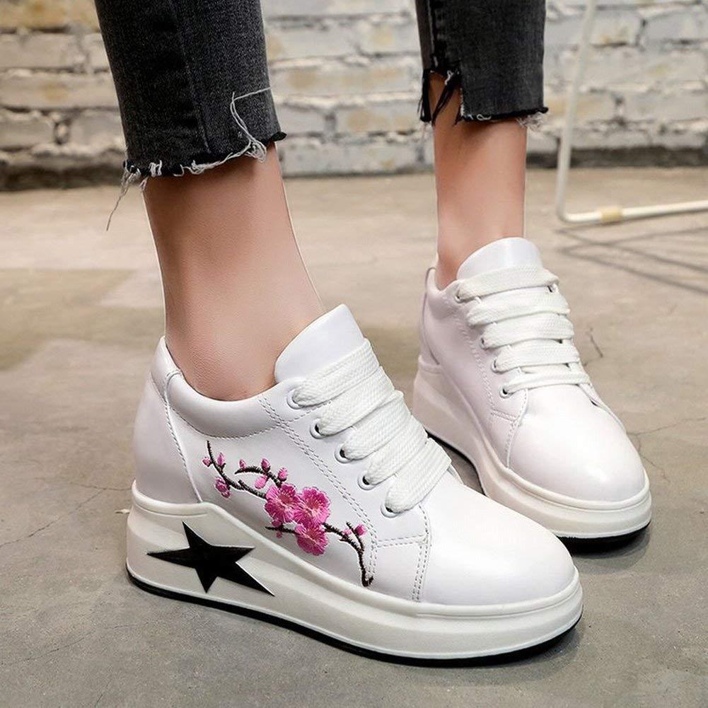 Oudan im Rahmen Der Erhöhung Der Casual-Single-Schuhe Laufschuhe Schnürsenkel Laufschuhe Casual-Single-Schuhe Der Frauen mit Weißen Schuhen Gestickt (Farbe   Schwarz Größe   36) 037637