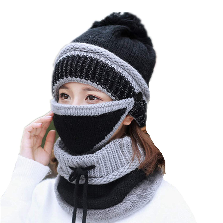 Womens Winter Knitting Beanies Hat,Fashion Scarf Sets Cap Mask Collar Face Protection Balaclava Hat