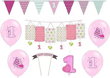 Erster Geburtstag Party Set Mädchen 1 Geburtstag,Teller Becher Servietten