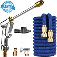 Car Wash Hose Expandable Garden Hose 50ft No Kink Durable Flexible Water Hose Lightweight Retractable Hose with Foam Pot Car Wash Spray Gun for Outdoor Gardening Lawn Car Watering