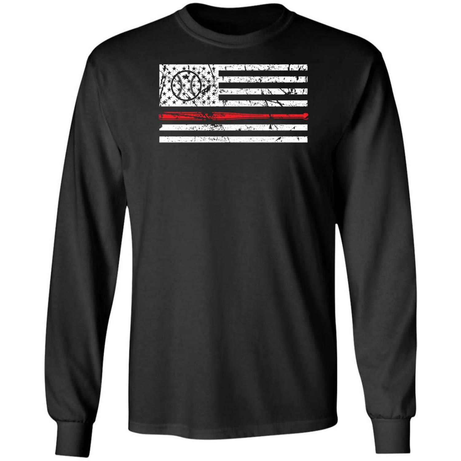 8368c1be19c728 1 Black Black Black Teechopchop Baseball American Flag USA Ameri Long  Sleeve Shirt 78c141