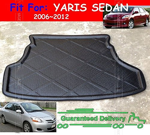 Toyota Yaris Cargo (Auto Accessories Durable Trimmable Custom Fit Boot Liner Cargo Mat Rear Trunk Tray Carpet Fit For 2007 2008 2009 2010 2011 TOYOTA YARIS SEDAN)