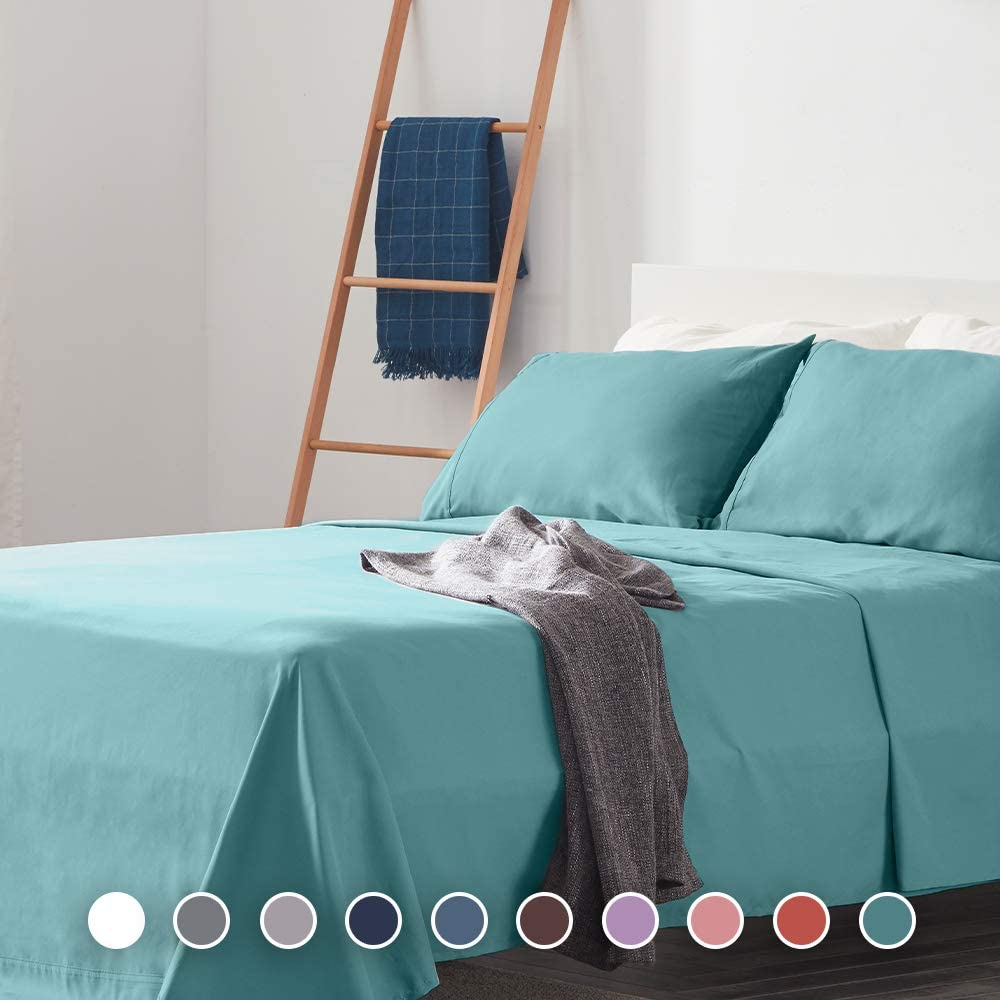 SLEEP ZONE Bed Sheet Sets Cozy Brushed Microfiber Soft Wrinkle Free Fade Resistant with 16 inch Deep Pocket Easy Care Sheets 4 PC, Teal, King