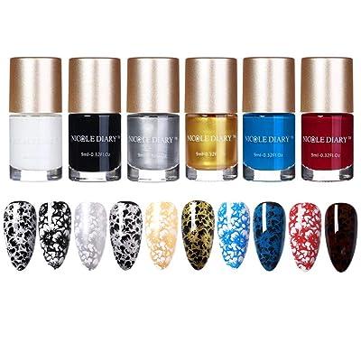 NICOLE DIARY Pearl Nail Polish Pearl Stamping Polish Shell Shiny Glitter 2 in 1 Nail Art Polish for DIY Manicure Decoration (5 colors)