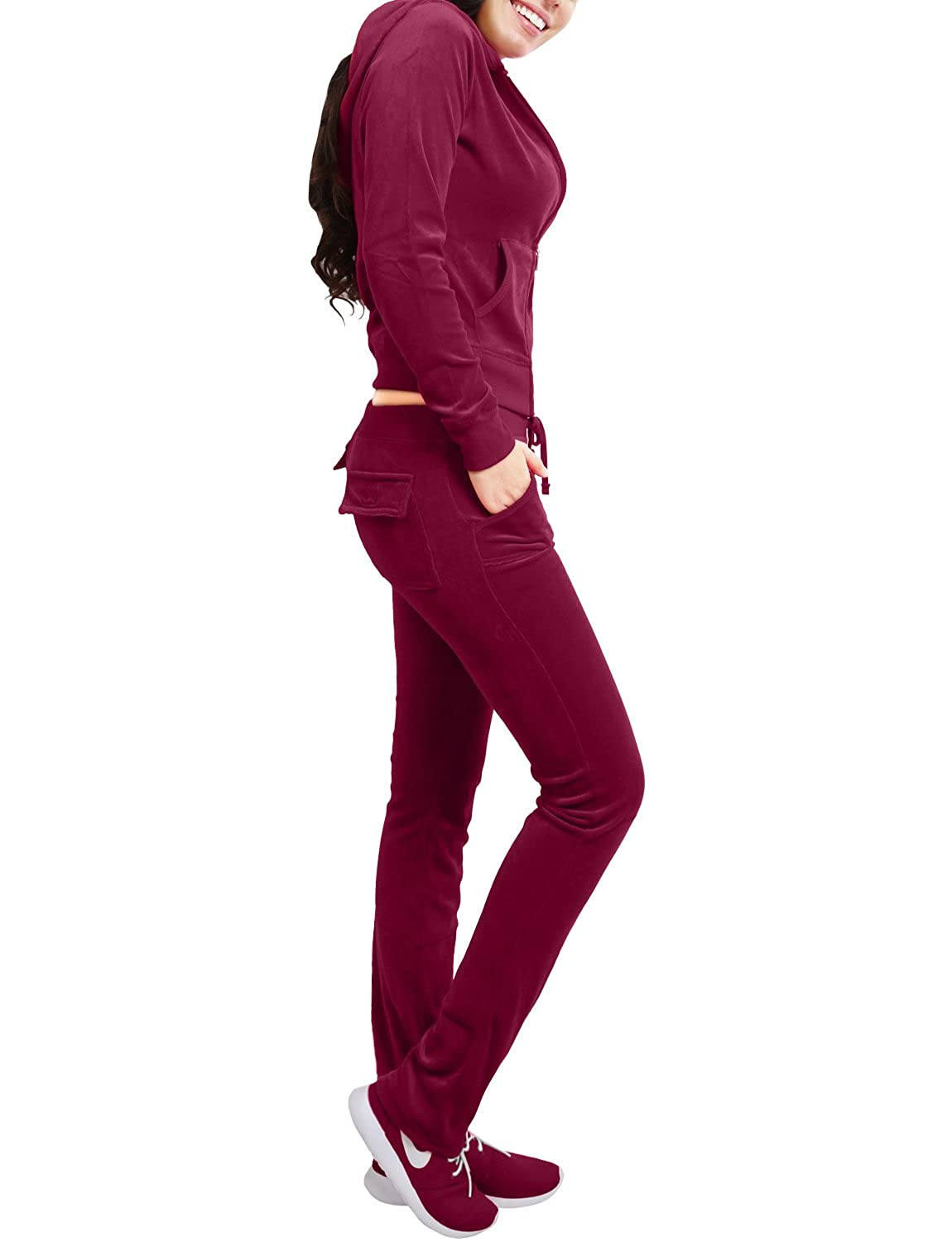 NE PEOPLE Womens Casual Basic Velour 2 Pieces Zip Up Hoodie & Sweatpants Tracksuit 2 Piece Set S-3XL NEWWTS03-parent