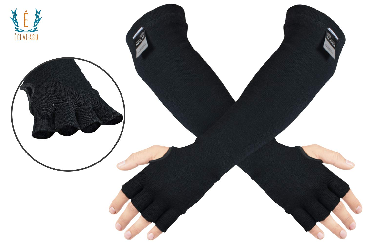 100% Kevlar Arm Sleeves- Cut, Scratch & Heat Resistant Arm Sleeve with Finger Opening & Thumb Holes- Arm Safety Sleeves- Long Arm Protectors- Flexible & Washable- 18 Inches, Black, 1 Pair by ECLAT-ASU