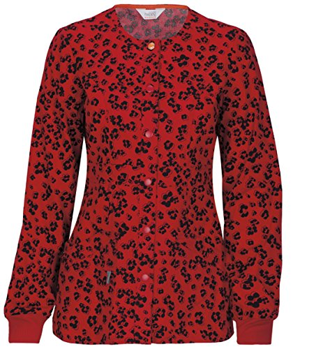Code Happy Women's Snap Front Leopard Print Warm Up Scrub Jacket Medium Print (Front Print Placket)
