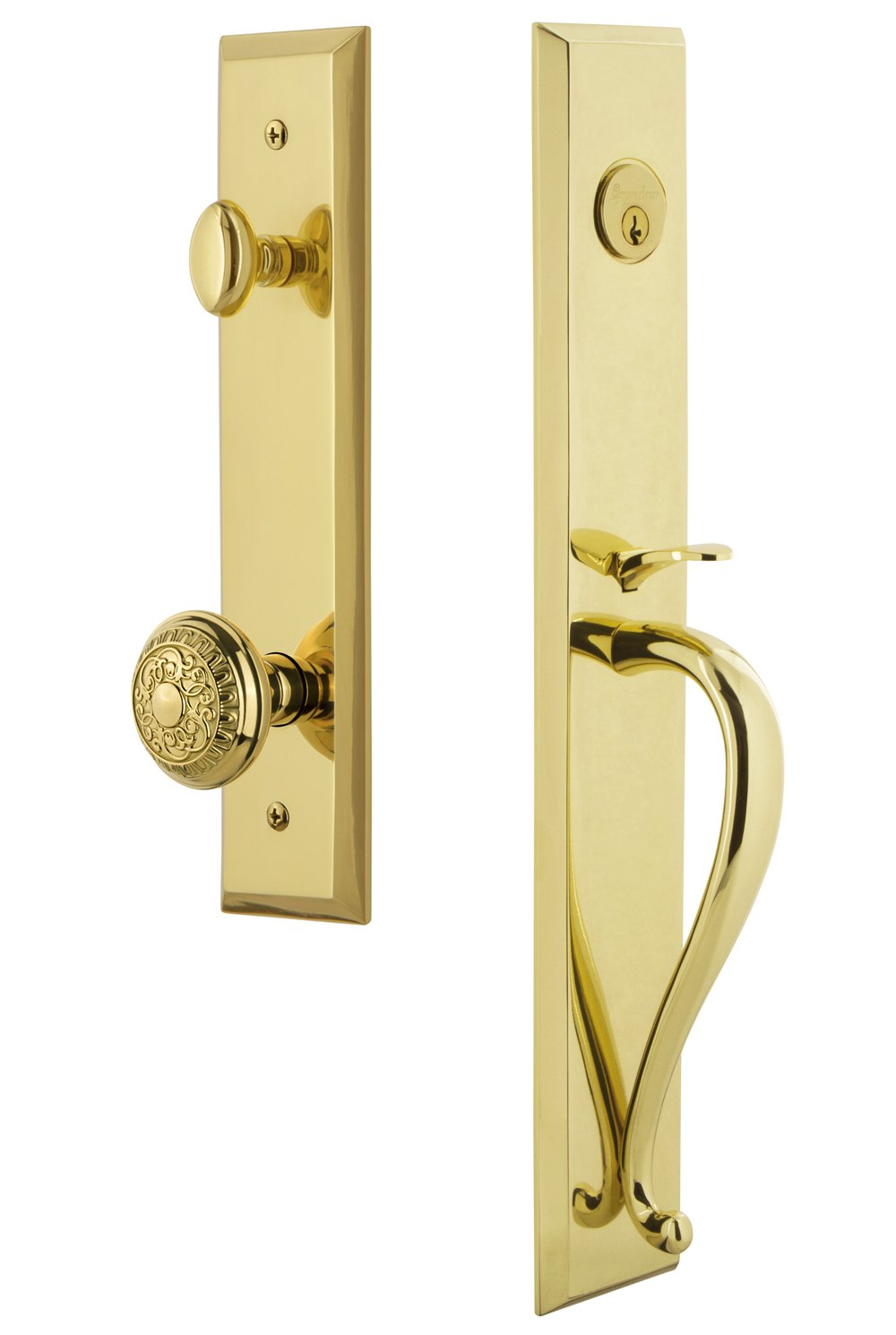Single Cylinder Lock Grandeur 846608 Hardware Fifth Avenue One-Piece Handleset with S Grip and Windsor Knob in Antique Pewter Backset Size-2.75