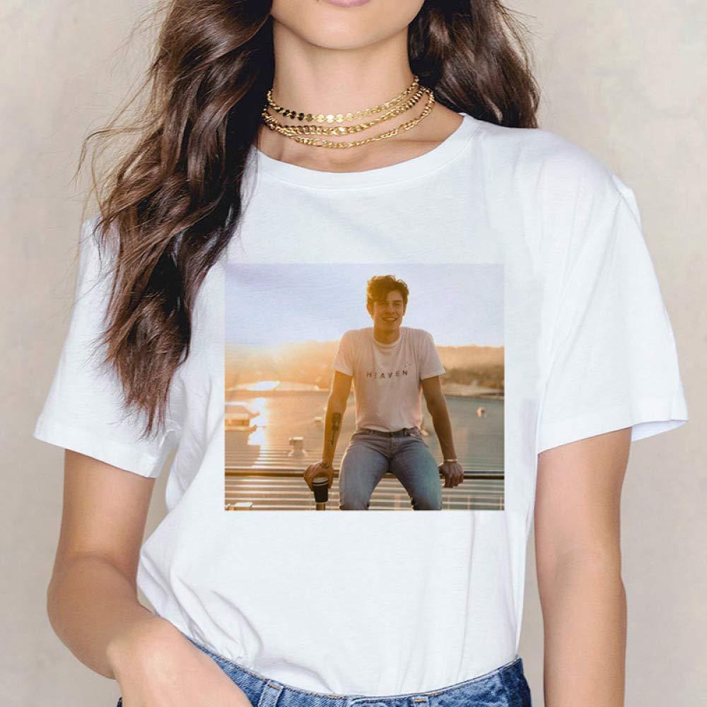 WTQ6009 S TJZY Verano Ocio Camiseta Tridimensional Impresi/ón Estrella Shawn Mendes Casual Manga Corta Tee Hembra Masculino Parte Superior Cuello Redondo