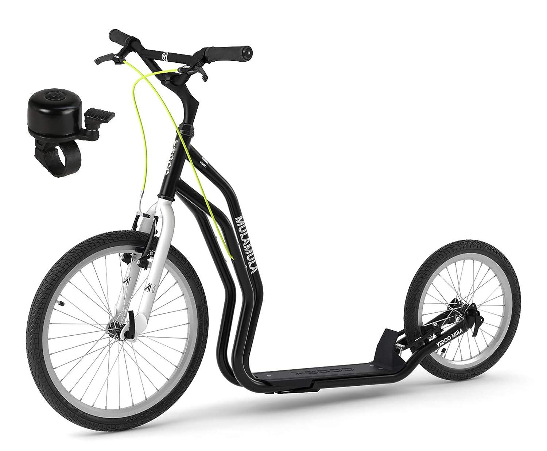 Tretroller f/ür Erwachsene u Jugendliche mit Fahrradklingel Mula RunRun Yedoo Scooter 20//16 Zoll Offroad-Reifen schwarz V-Brake Nachfolgemodell des Mezeq New V-Brake