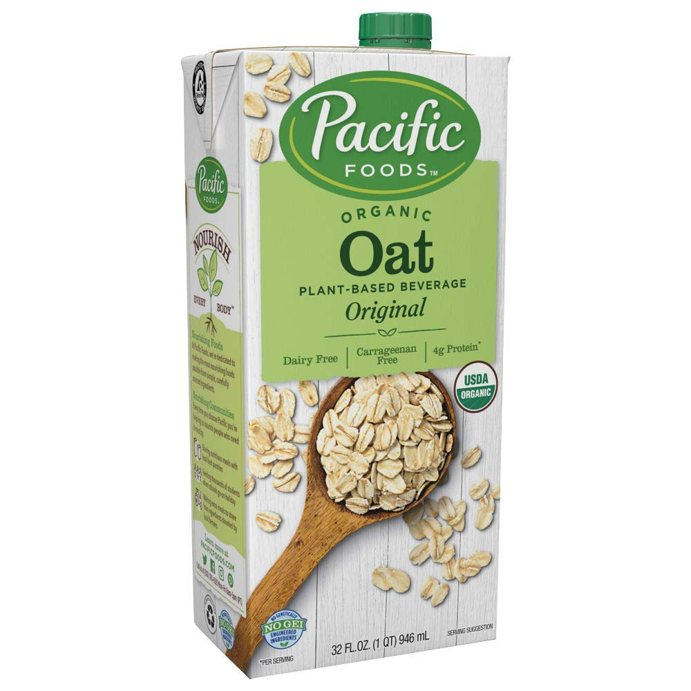 Pacific Foods Organic Oat Original Plant-Based Beverage, 32oz, 12-pack