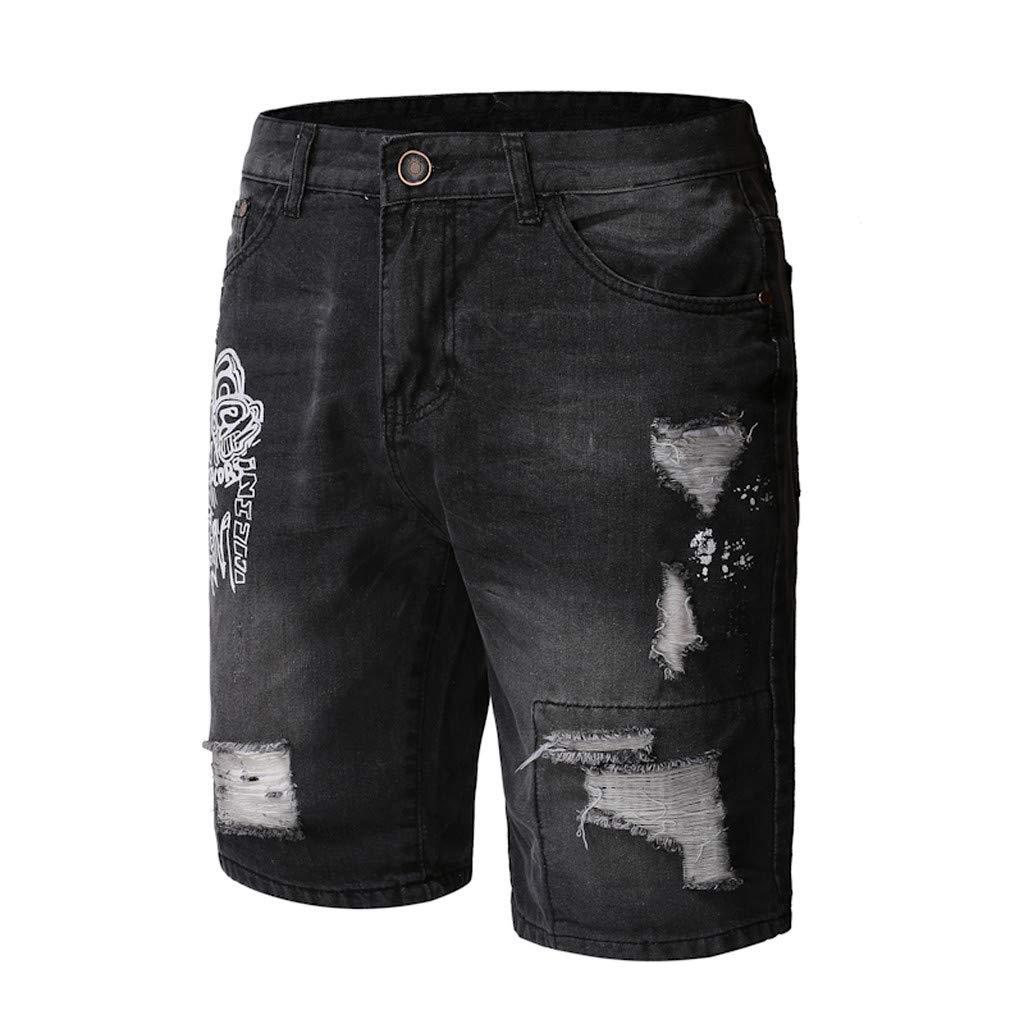 XQXCL Denim Short Pants for Men Hole Stretch Casual Print Slim Summer Shorts Pants