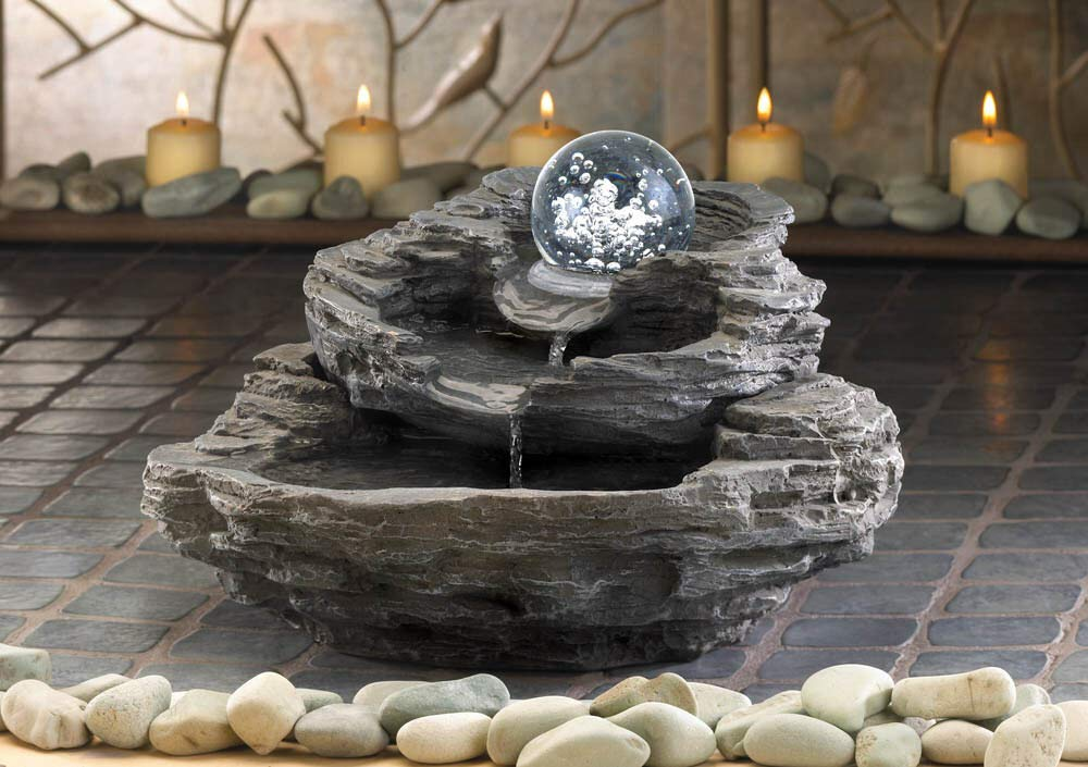 AK Energy Top Moving Rolling Ball Rock Cliff Stone Waterfall Meditation Garden Water Resin Indoor Fountain