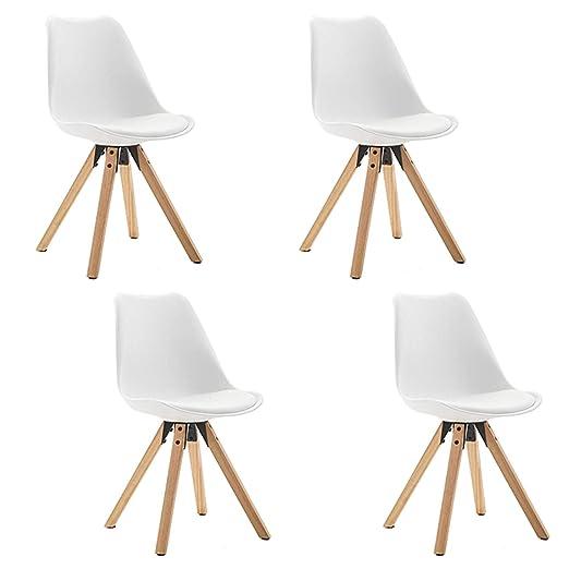 Juego de sillas de plástico con cojín en Silla de Cuero ...