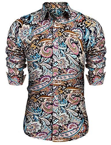 URRU Men's Floral Dress Shirt Long Sleeve Casual Paisley Printed Button Down Shirt Navy Blue -