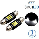 "SiriusLED Extremely Bright 400 Lumens 3020 Chipset Canbus Error Free LED Bulbs for Interior Car Lights License Plate Trunk Side Marker Courtesy 1.50"" 36MM Festoon 6418 DE3423 DE3425 White 6000K"