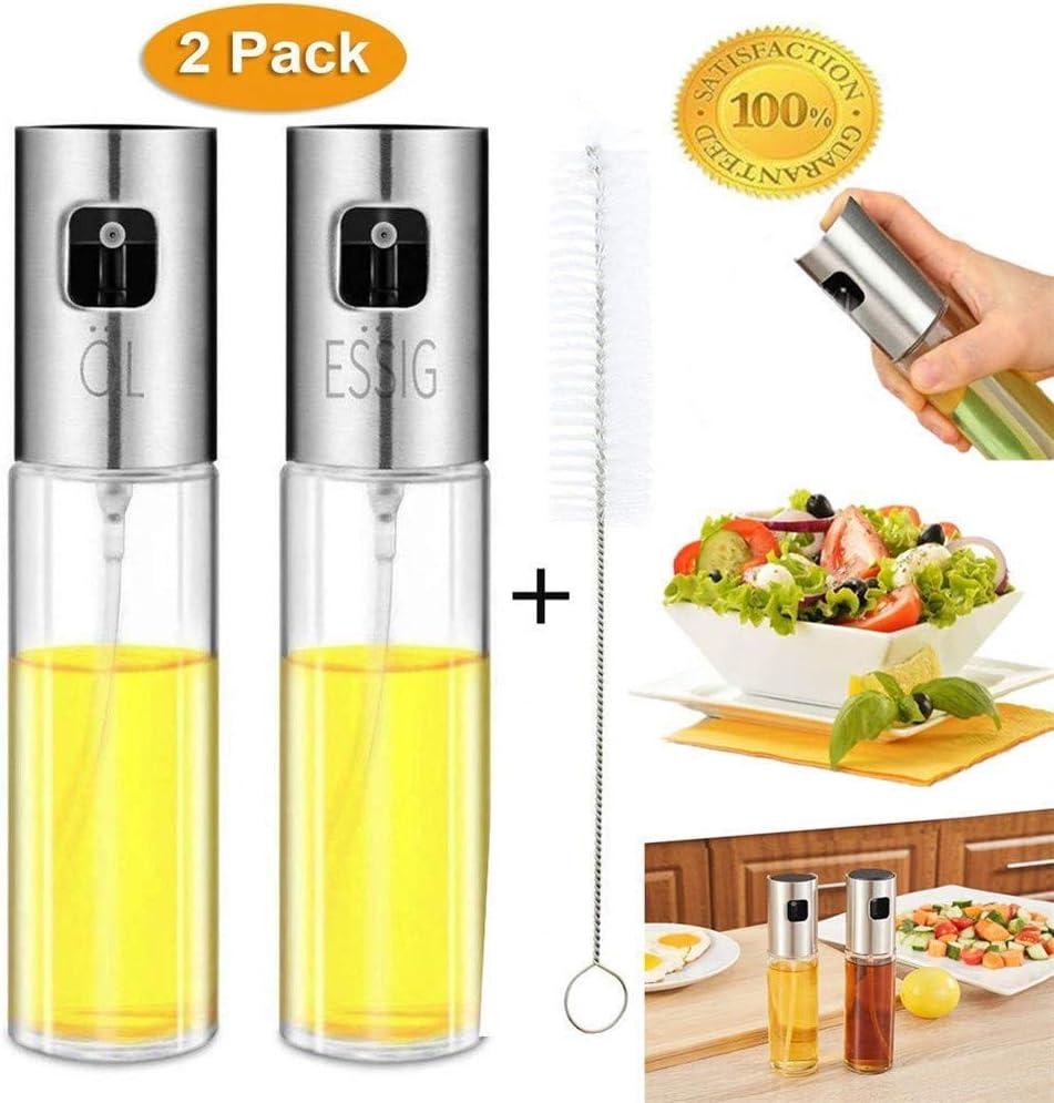 Nifogo Dispensador de Pulverizador de Aceite 2 Pcs, Oil Sprayer 100 ML Vinagre/Aceite de oliva de Acero Inoxidable Botella de Vidrio para Herramienta de Cocina cocinar