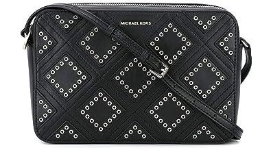 82b5ff38208d7e Michael Kors Womens Jet Set Leather Grommet Crossbody Handbag Black Small