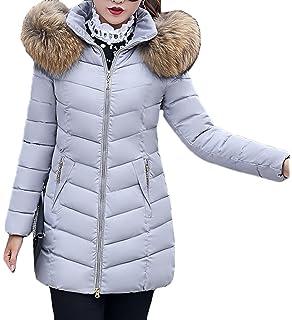 5b36999a4faa Bevalsa Damen Winter Daunenmantel Winterjacke mit Pelzkragen Warm Wadded  Mäntel Steppjacke Parka Schlanke Passform (M