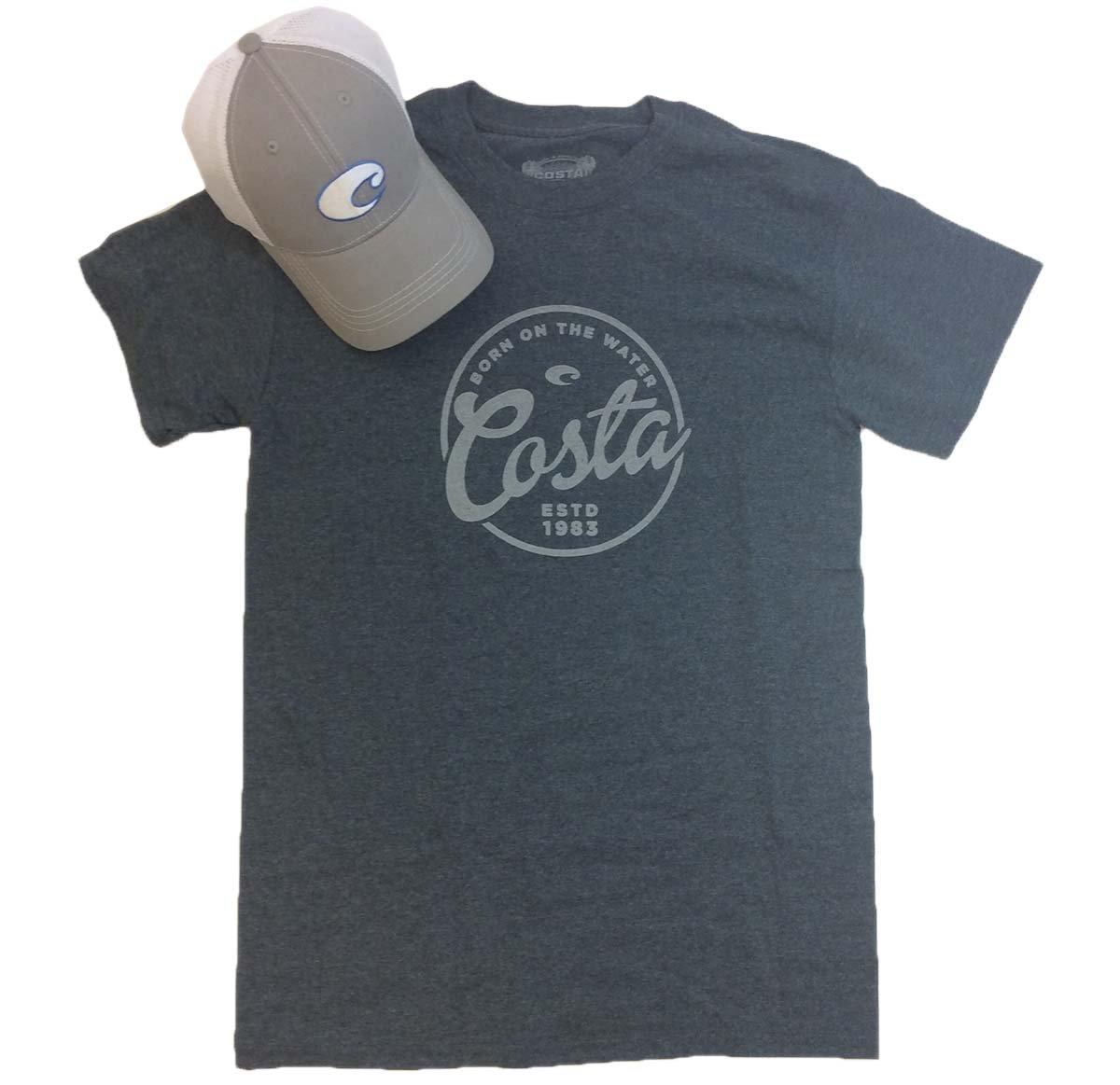 Costa Del Mar Men's Logo Hat And Freeboard T-shirt Bundle Gift Set-Dark Heather-XXL