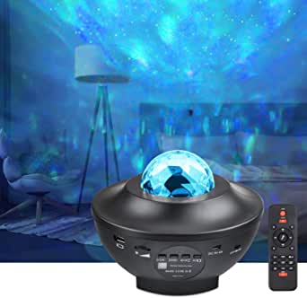 LED Projector Lights - COSANSYS Ocean Wave Star Sky Night Light with Music Speaker,Sound Sensor, Remote Control,360°Rotating Sleep Soothing Color Changing Lamp for Stage Bedroom Wedding Christmas