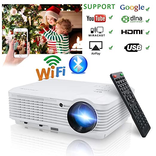 Video Projector 1080p 3900 Lumen, Wireless Proyector WiFi Bluetooth Android 6.0 HD WXGA Multimedia Home Theater LCD Projectors HDMI USB VGA for TV ...