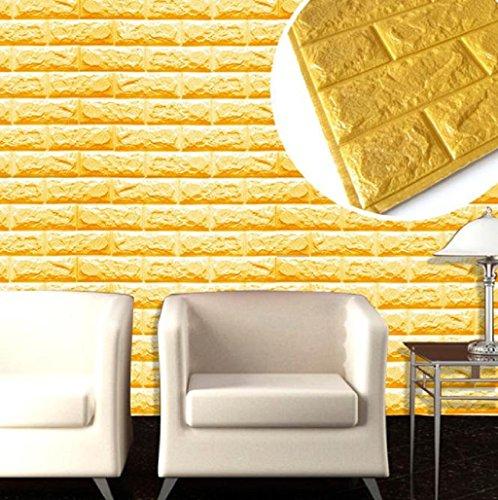Clearance!Canserin PE Foam 3D Wallpaper DIY Wall Stickers (Gold)