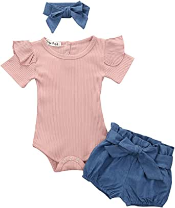 Solid Color Knit Shorts Casual Clothes Sets quanquan Toddler Baby Girls 2Pcs Summer Shorts Sets Sleeveless Top