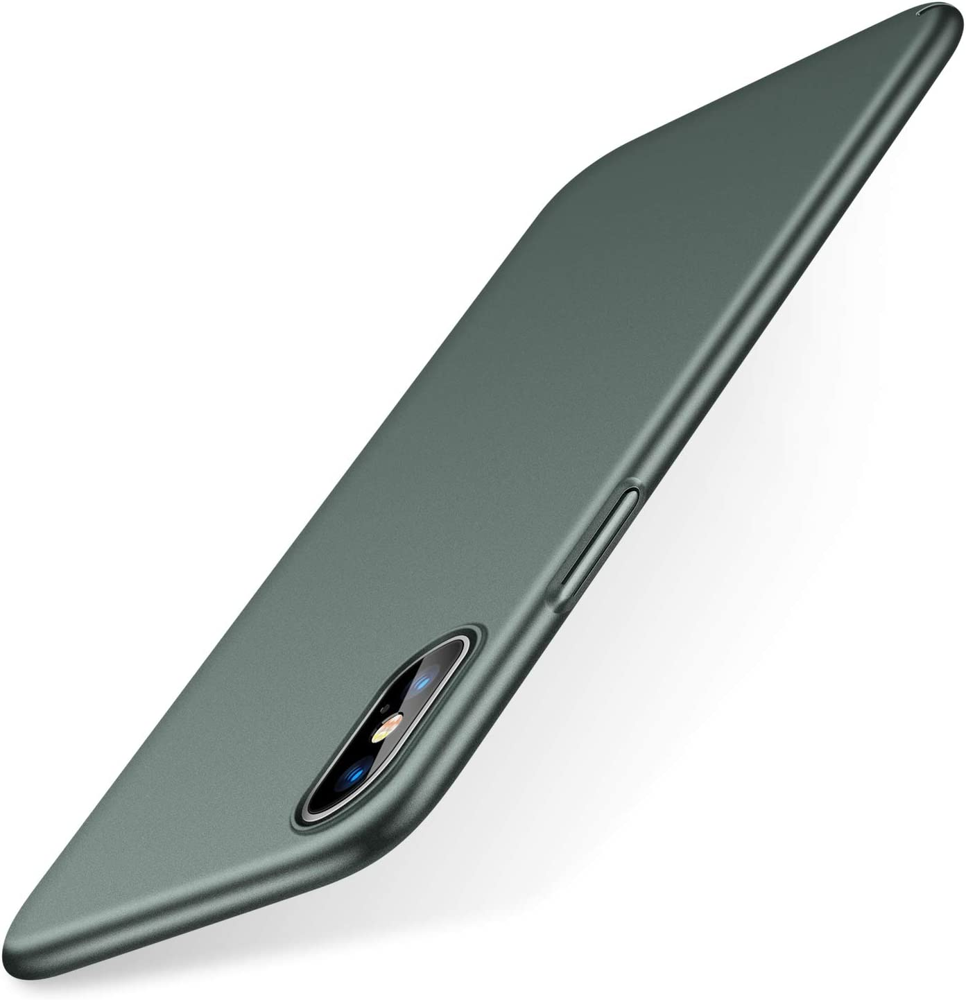 TORRAS Slim Fit iPhone Xs Case/iPhone X Case, Hard Plastic PC Super Thin Mobile Phone Cover Case with Matte Finish Coating Grip Compatible with iPhone X/iPhone Xs 5.8 inch, Midnight Green