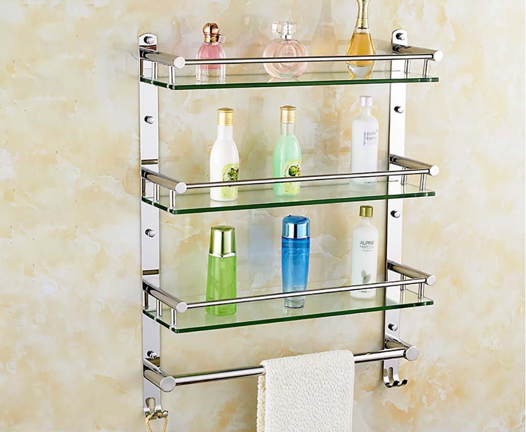 タオル掛け バスルームガラスの棚304ステンレススチールバスルーム棚/バスルームガラス化粧品の棚の壁 タオルスタンド (サイズ さいず : 60 cm 60 cm) B07FGF5DM160 cm 60 cm