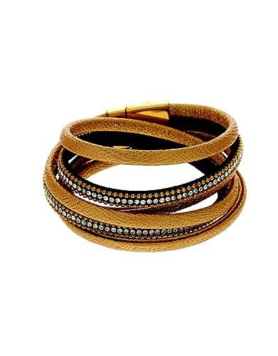 Anuradha Art Golden Finish Wonderful Classy Handmade Leather Bracelets for Women//Men