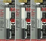 Pack of 3 LOreal Paris Double Extend Mascara, 535 Carbon Black, 0.33 Ounces