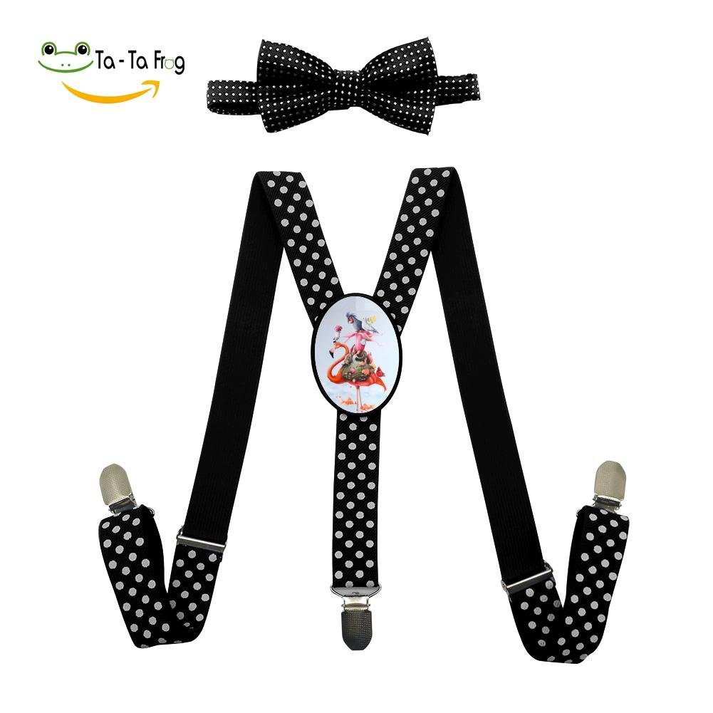 Xiacai Flamingo Friends Suspender/&Bow Tie Set Adjustable Clip-On Y-Suspender Boys