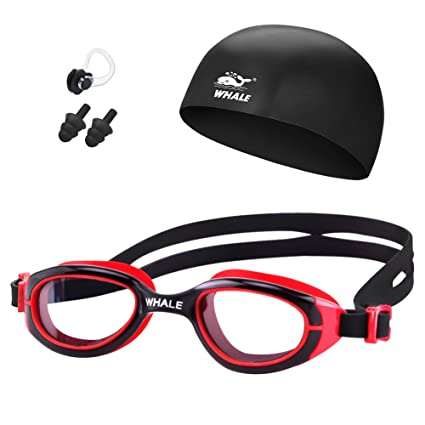 d6e3a754f891 Whale Kids Swim Goggles Set with Anti Fog UV Protection Adjustable Swimming  Goggles Swim Cap and Ear Plugs Nose Clip Triathlon Equipment for Youth Kids  Boys ...