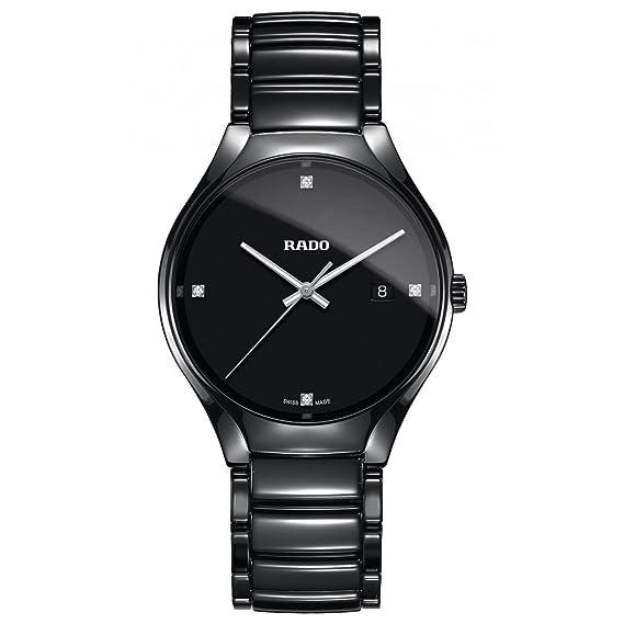 Rado True Reloj de Hombre Diamante Cuarzo 40mm Correa de cerámica R27238722: Amazon.es: Relojes