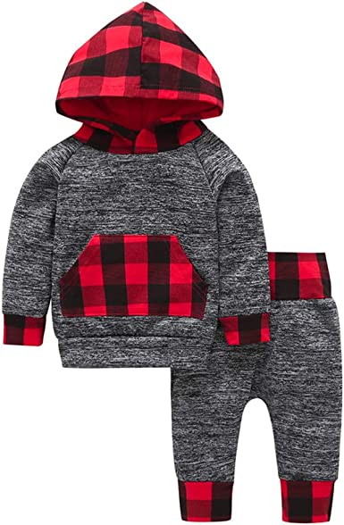 FORESTIME Fashion Baby Infant Girls Boys Plaid Cotton Hooded Long Sleeves Pullover Sweatshirt Warm Coat Outfits