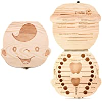 Aiky Wooden Baby Tooth Fairy Box Teeth Holder for Kids Lost Teeth Keepsake Save Collection (Boy)