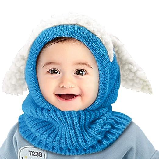 f1ddb091382f3 Toddler Hat Scarf Set Warm Winter Hats Boy Girls Children Knitted Cap 1-3Y