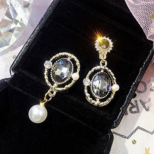 2018 Creative Asymmetric Metal Oval Black Pearl Crystal Earrings earings Dangler Eardrop Gemstone Retro Creative Exaggeration Women Girls Ear - Gem Dangler